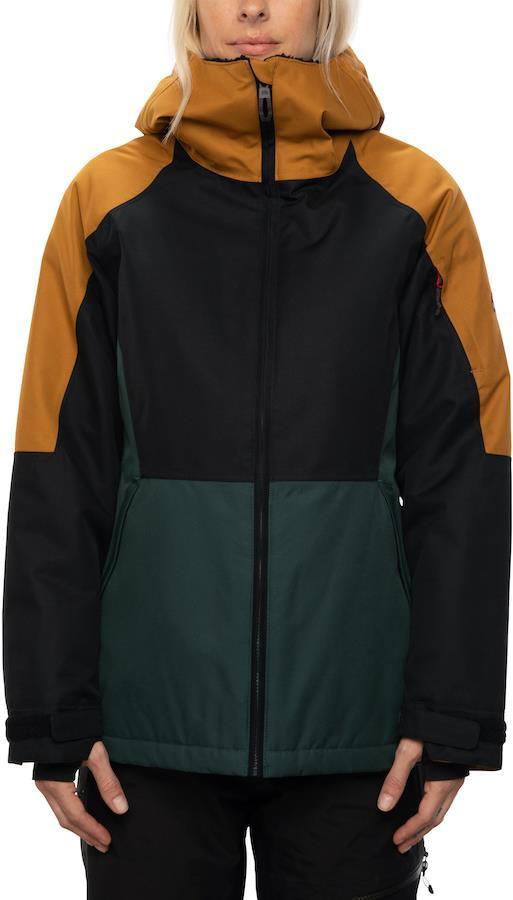 686 Lightbeam Womens Snowboard/Ski Jacket S Golden Brown Colorblock