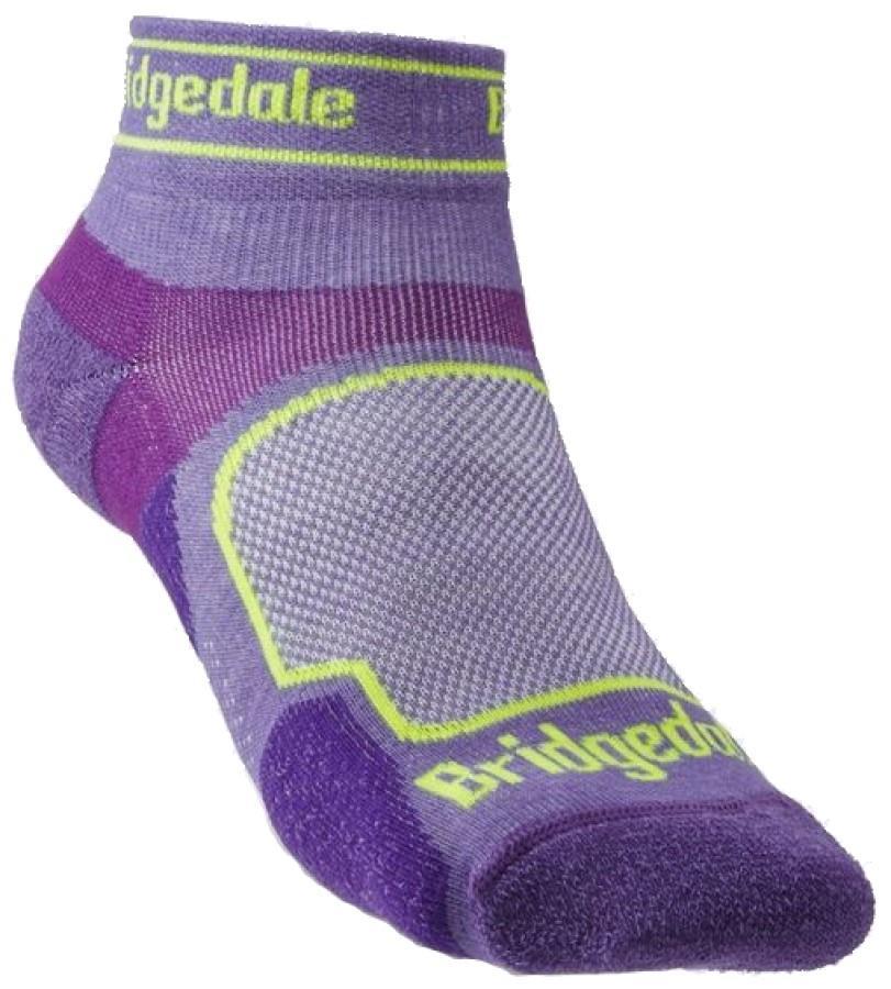 Bridgedale Ultralight T2 Sport Low Women's Trail Run Sock, L Purple