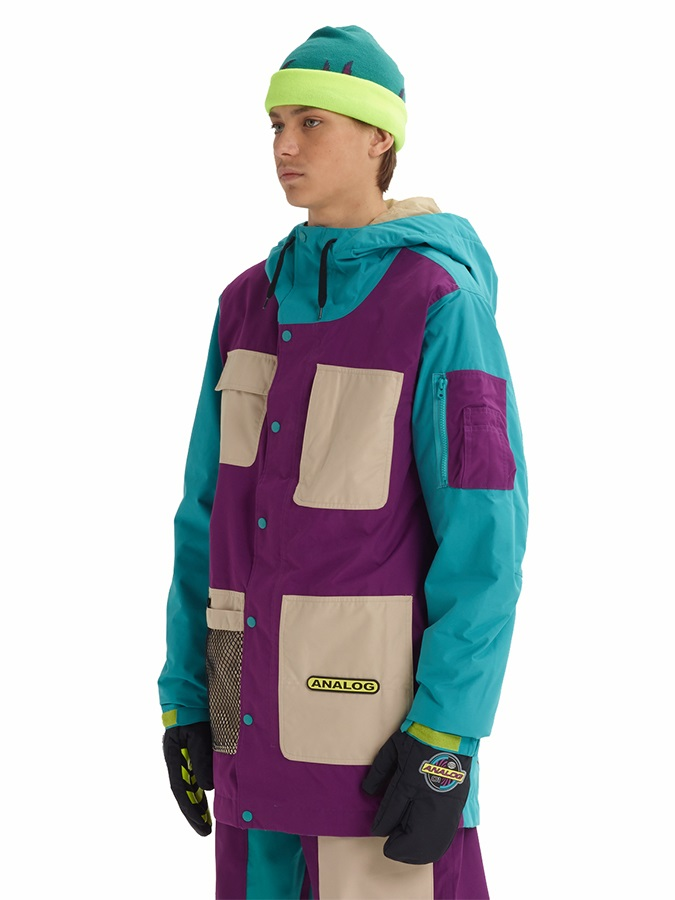 Analog Solitary Snowboard/Ski Jacket, XXS Safari/Green Slate/Charisma