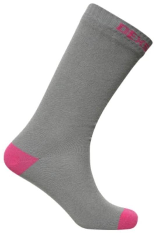 DexShell Ultra Thin Crew Waterproof Socks, UK 12-14 Grey/Pink