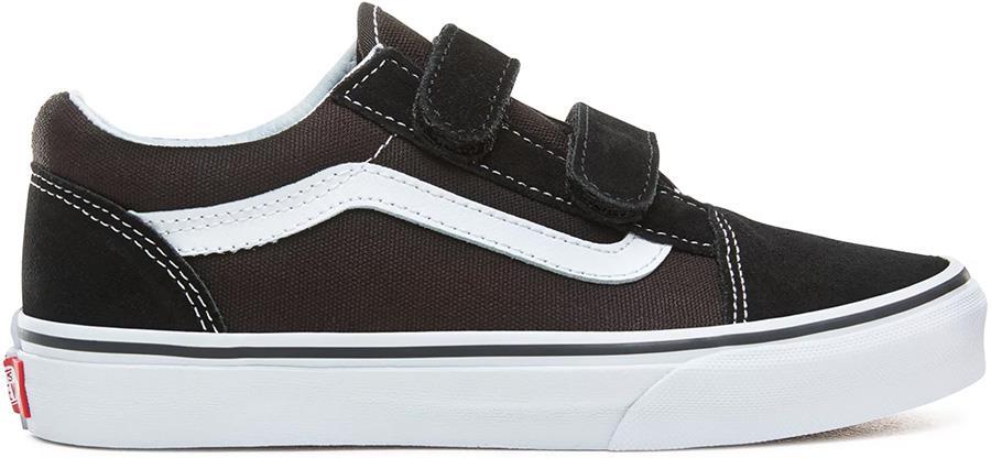 Vans Old Skool Velcro Kid's Skate Shoes, UK 2 Black/True White