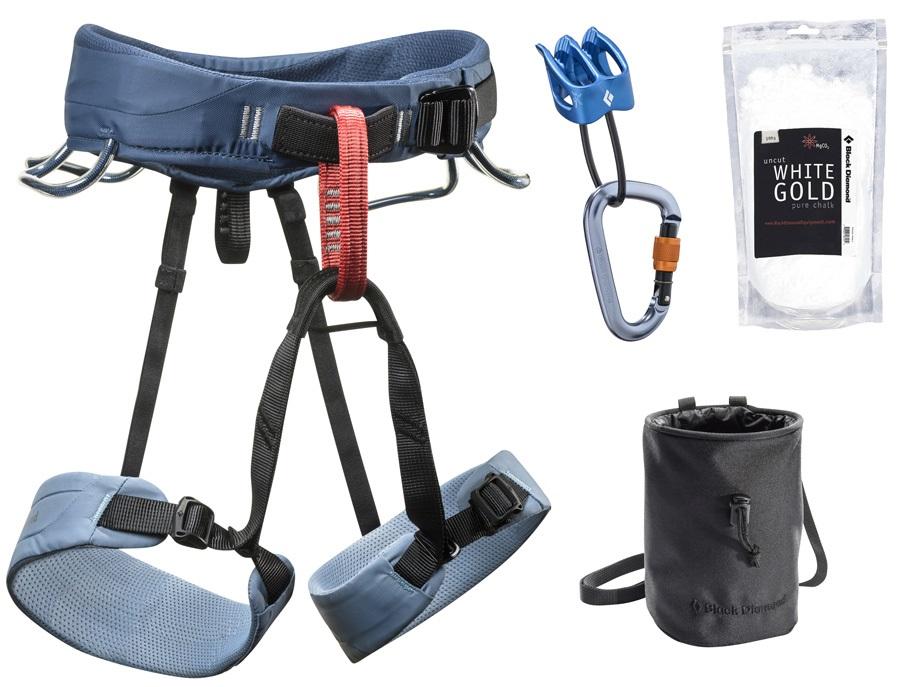 Black Diamond Momentum Womens Climbing Harness Package, L Stone Blue