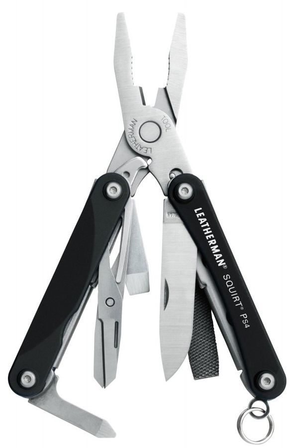 Leatherman Squirt PS4 Keychain Multi Tool, 9 Tools Black