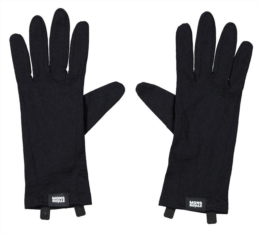Mons Royale Volta Merino Wool Glove Liner, S Black