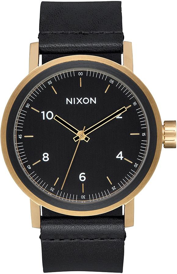 Nixon Stark Leather Men's Watch, OS All Black/Gold