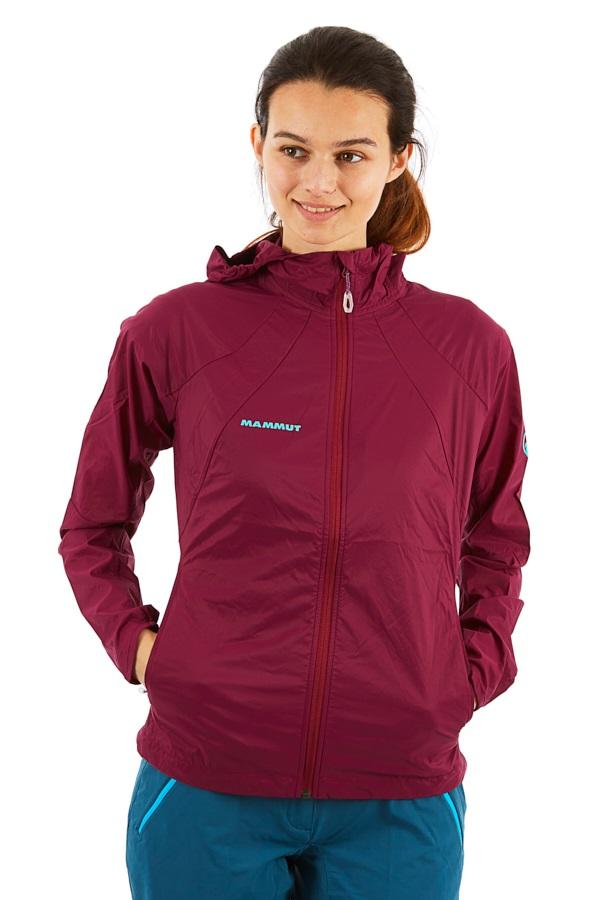 Mammut Womens Runbold WB Wind Breaker Hooded Jacket, UK 12 Amarante