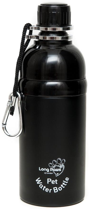 Long Paws Lick N Flow Stainless Steel Dog Water Bottle, 500ml Black
