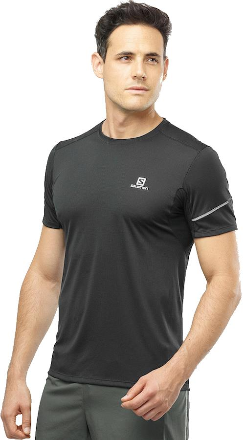 Salomon Agile SS Tee Short Sleeve Hiking/Running T-shirt, L Black