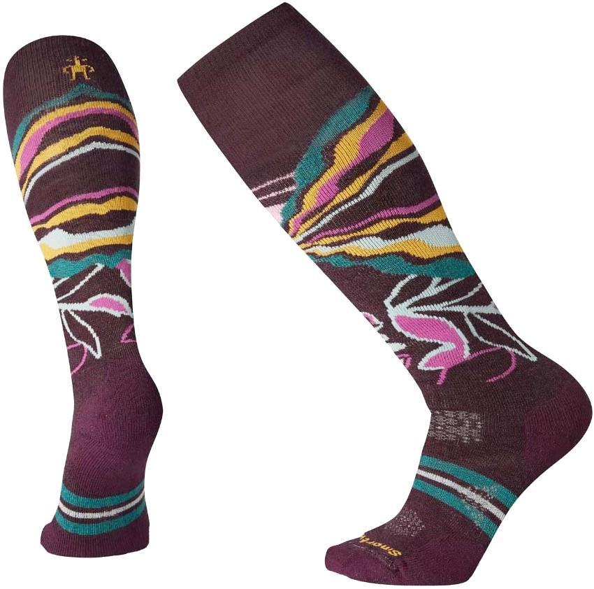 Smartwool PhD® Ski Medium Pattern Women's Ski Socks, L Bordeaux 2020