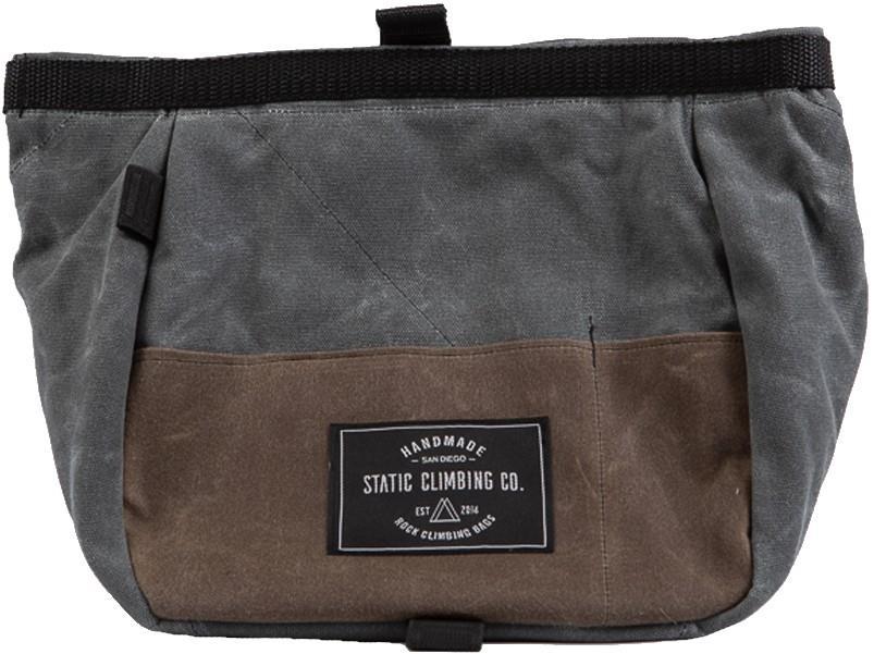 Static Waxed Canvas Bucket Rock Climbing Chalk Bag : Gunpowder