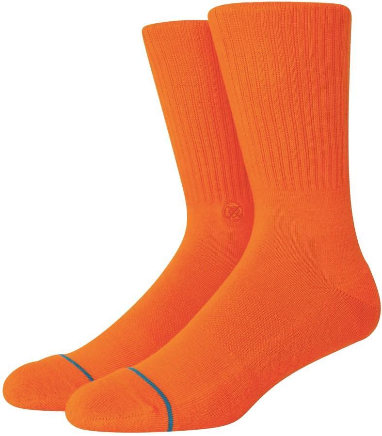 Stance Icon Casual Crew Socks, M Orange