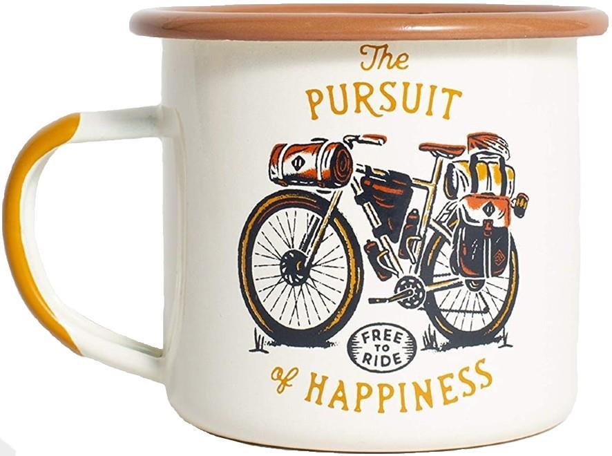 United By Blue Free To Ride Mug Enamel Steel Camp Cup, 12oz Cream