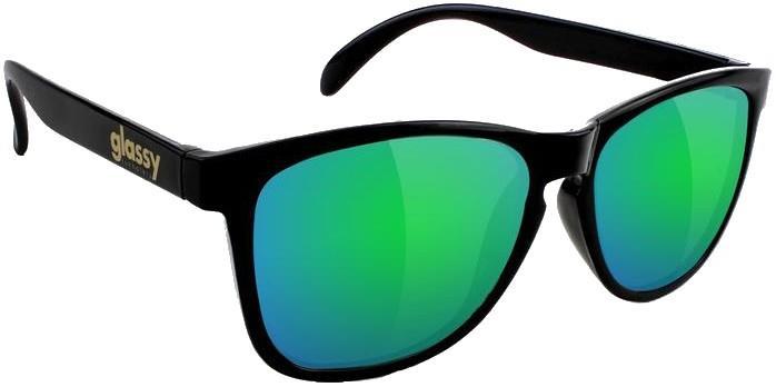 Glassy Sunhaters Deric Green Mirror Lens Sunglasses, M Matte Black