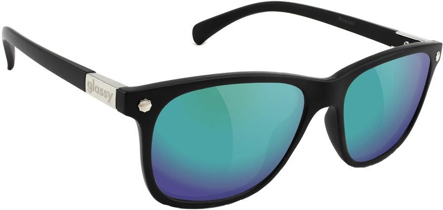 Glassy Sunhaters Biebel Green Mirror Polarized Lens Sunglasses, Black