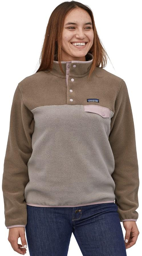 Patagonia Womens Lw Synchilla Snap-T Women's Pullover, Uk 10 Furry Taupe