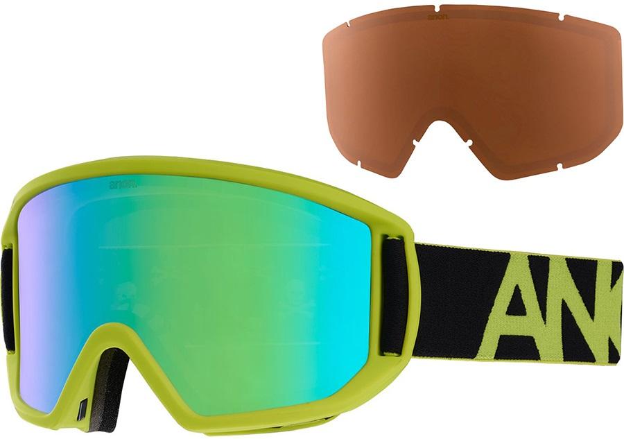Anon Relapse Sonar Green Ski/Snowboard Goggles, M/L Black Green