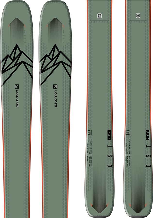 Salomon Adult Unisex Qst 106 Skis 167cm, Green/Orange, Ski Only, 2021