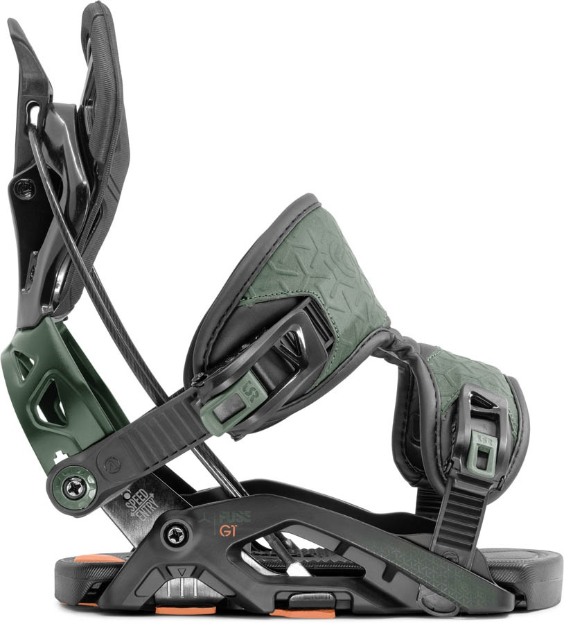 Flow Fuse GT Fusion Step In Snowboard Bindings, M Black/Green 2020
