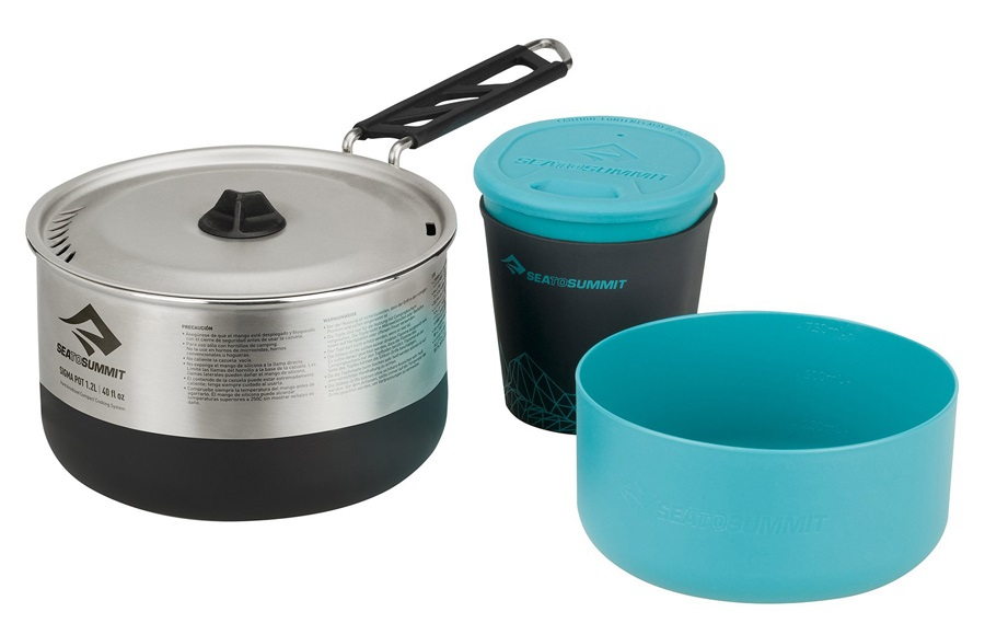 Sea to Summit Sigma Cook Set 1.1 Camping Cookware, 1.2L Stainless