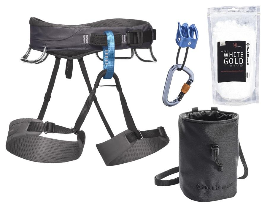 Black Diamond Momentum Rock Climbing Harness Package, XL Slate