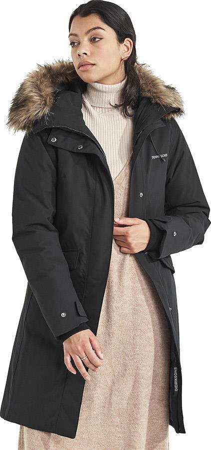 Didriksons Erika Women's Waterproof Parka Coat, UK 14 Black