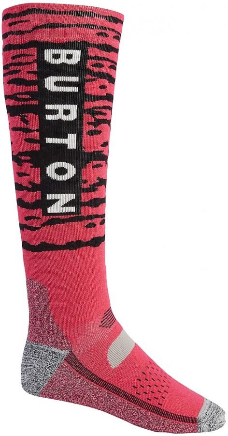 Burton Adult Unisex Performance Midweight Merino Snowboard/Ski Socks, M Punchy Pink
