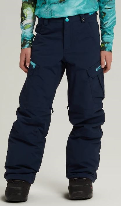 Burton Boys Exile Cargo Snowboard Pants, M Dress Blue