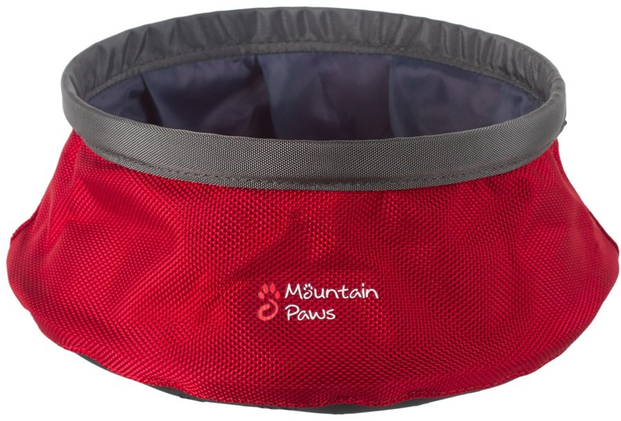 Mountain Paws Dog Water Bowl Travel Pet Bowl, Large Red