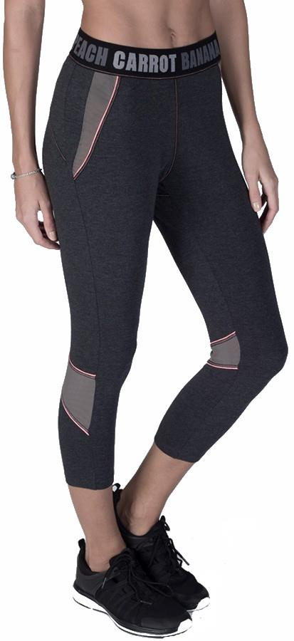 Carrot Banana Peach Bamboo Hipster Cropped Fitness Pant, L Graphite