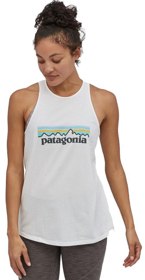 Patagonia Pastel P-6 High Neck Tank Top Vest, UK 8 White