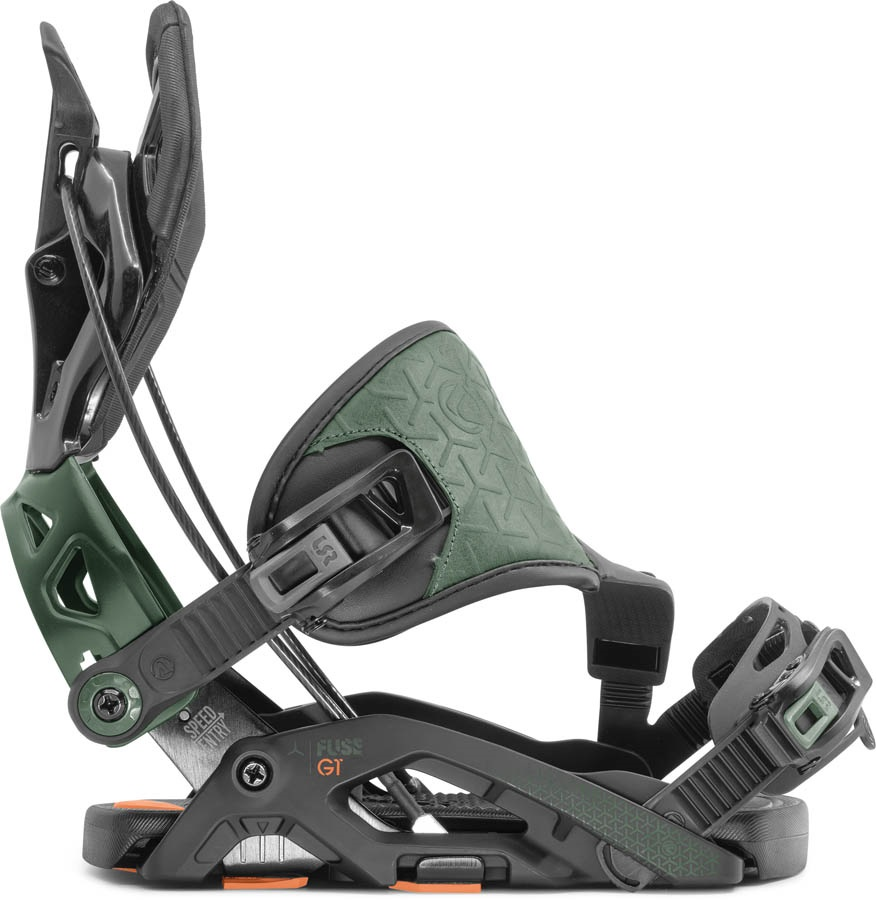 Flow Fuse GT Hybrid Step In Snowboard Bindings, XL Black/Green 2020