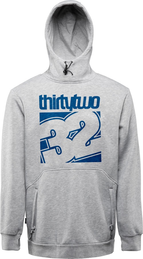 thirtytwo Stamped Pullover Fleece Ski/Snowboard Hoodie, M Grey/Blue