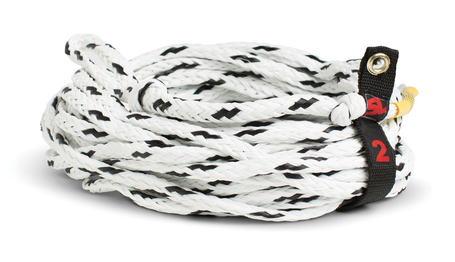 Straight Line Standard Towable Tube Rope, 2 Person White Black