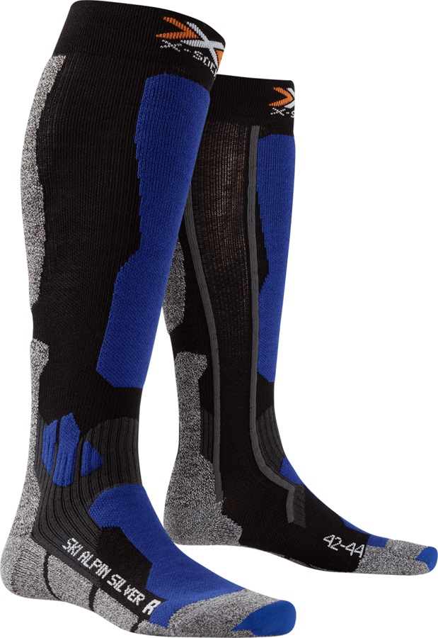 X-Bionic Ski Alpine Silver Ski Socks, UK 6-7.5, Black/Cobalt Blue