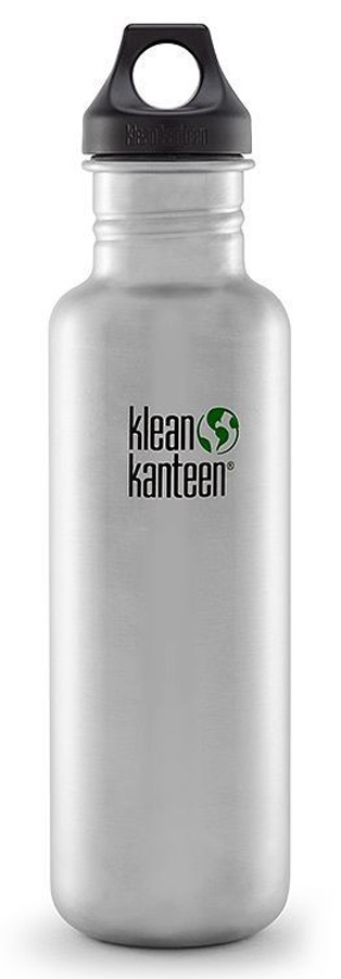 Klean Kanteen Classic Water Bottle 800ml Brushed Steel Loop Cap