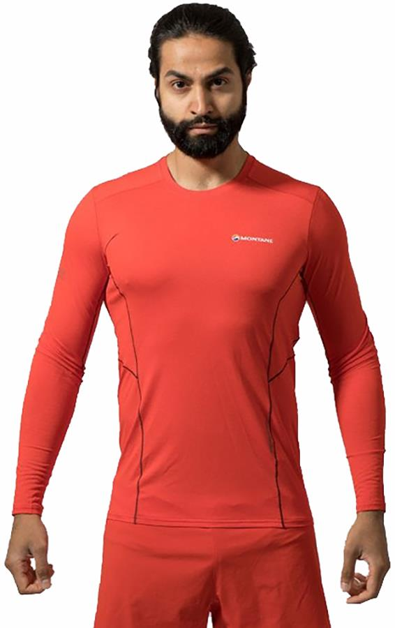 Montane Sabre Technical Long Sleeve Base Layer Top, S Flag Red