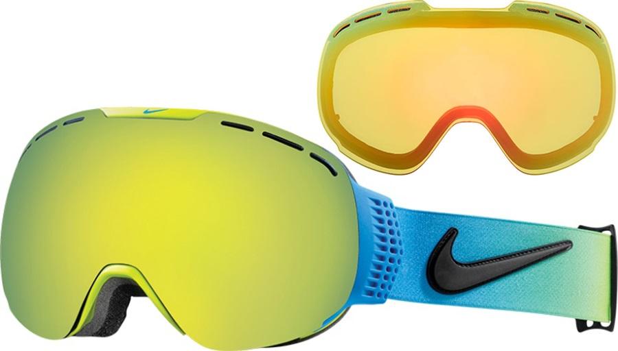 Nike SB Command Ski/Snowboard Goggles, L, Photo Blue/Green, Smoke Gold