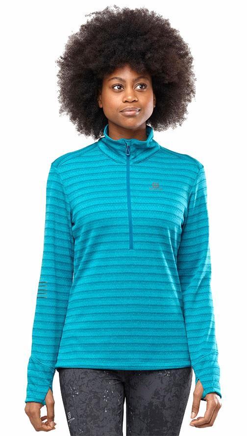 Salomon Lightning Half Zip Women's Midlayer Top, XS Tile Blue