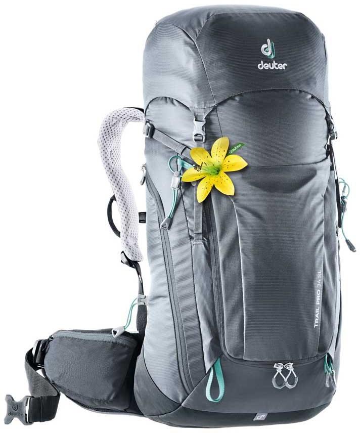 Deuter Trail Pro 34 SL Women's Climbing Backpack, 34L Graphite/Black