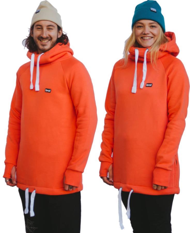bro! Chill N'shred Unisex Ski/Snowboard Hoodie, S Coral