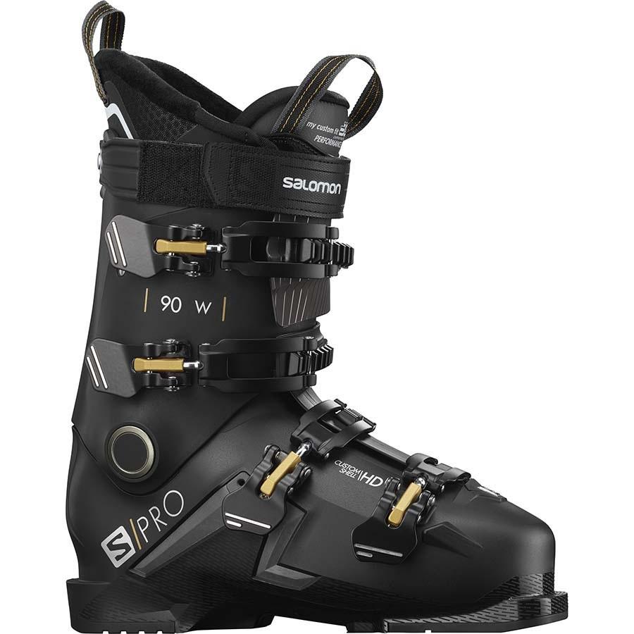 Salomon Womens S/Pro 90 W Women's Ski Boots, 27/27.5 Black/Belluga/Gold 2021