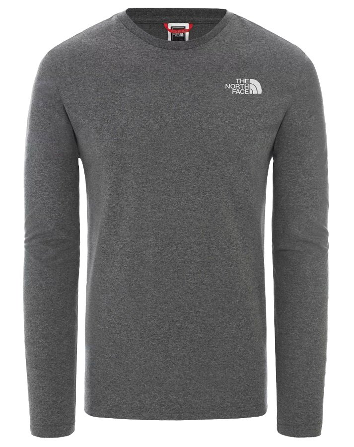 The North Face Adult Unisex Easy Long-Sleeve Crew Neck T-Shirt, M Grey Heather