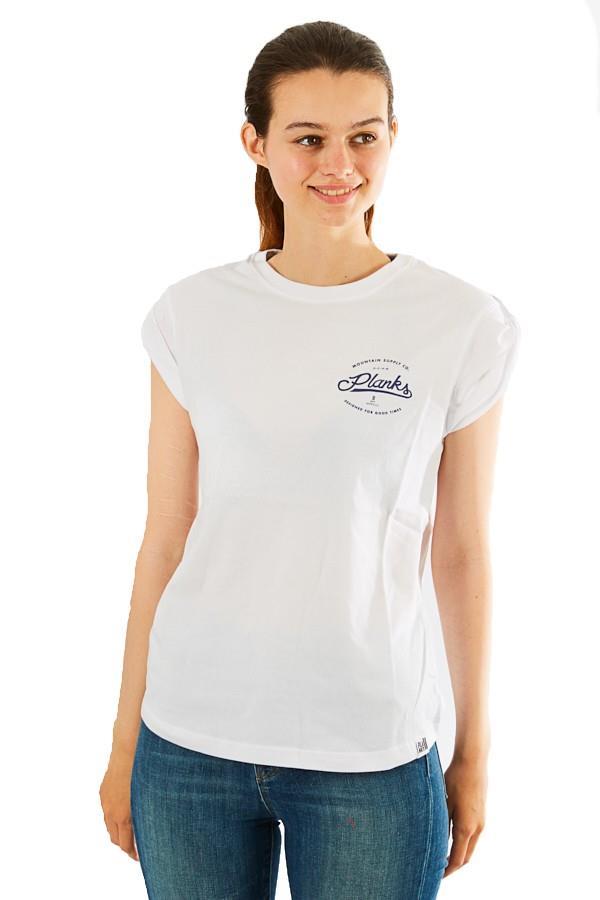 Planks Mountain Supply Co Boyfriend Tee T Shirt, XS White