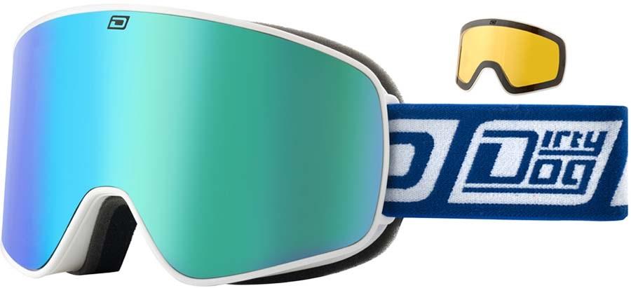 Dirty Dog Mutant Legacy Blue Fusion Ski/Snowboard Goggles White-Grey