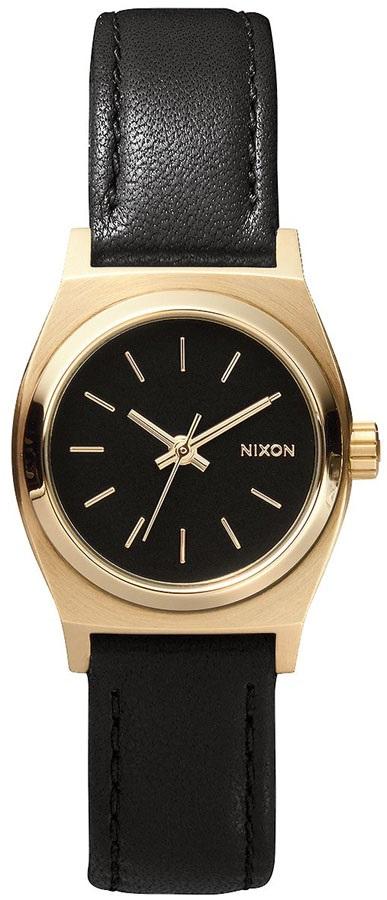 Nixon Small Time Teller Leather Women's Wrist Watch OS Black/Gold