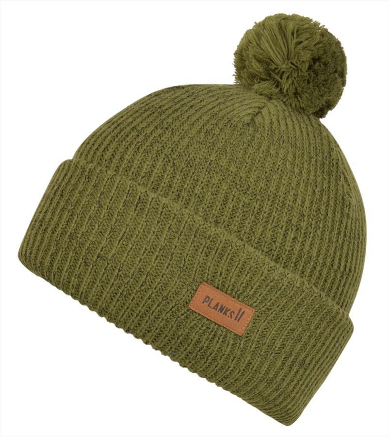 Planks Adult Unisex Team Ski/Snowboard Beanie Bobble Hat, One Size Army Green