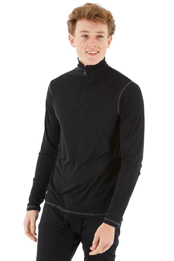 Silkbody Silkspun Zip Neck L/S Baselayer Top, XXL Black