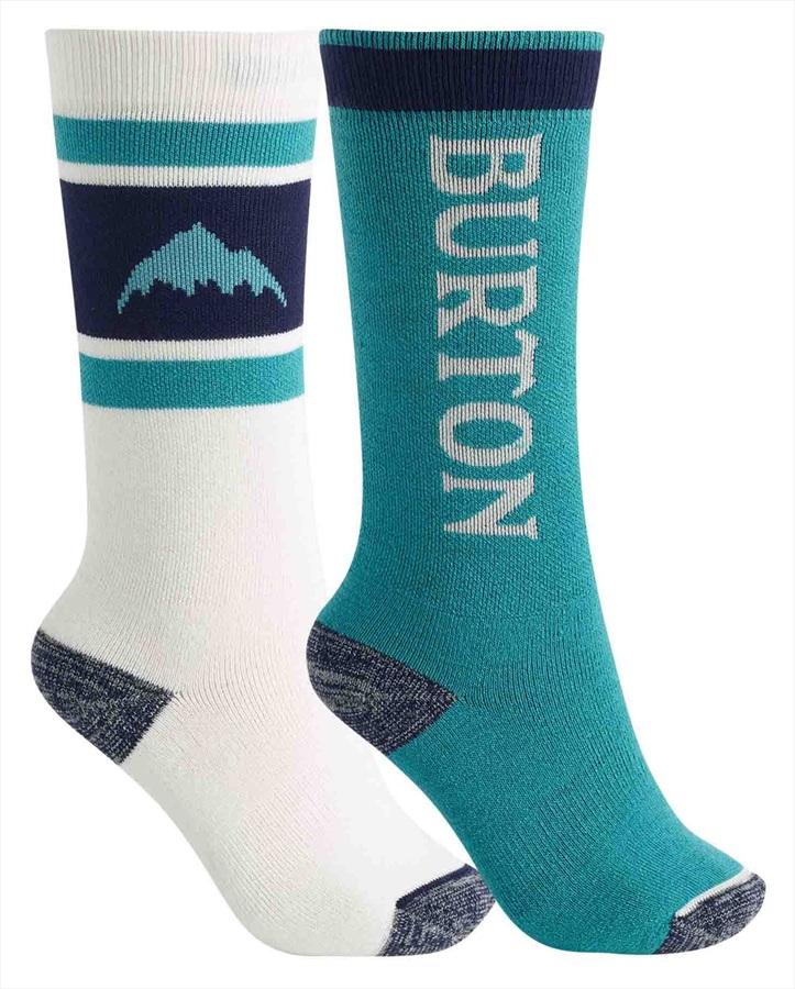 Burton Child Unisex Weekend Midweight 2pk Kid's Ski/Snowboard Socks, M/L Lapis Blue