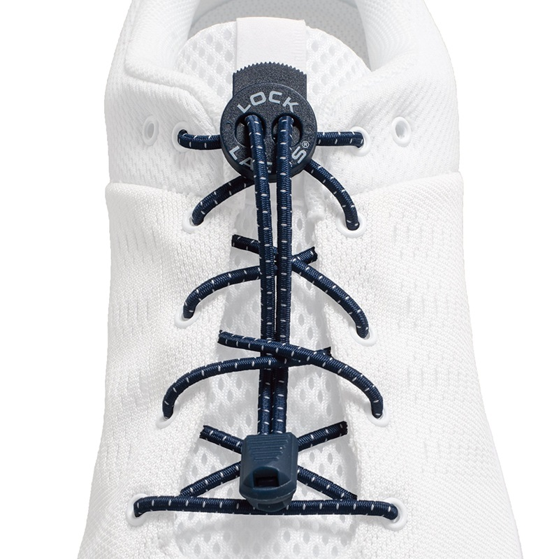 Lock Laces No-Tie Replacement Elastic Shoelaces, One Size Navy Blue