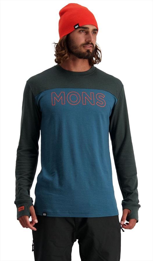 Mons Royale Yotei Tech Long Sleeve Merino Wool Top, S Atlantic/Rosin